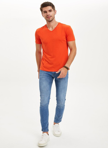 DeFacto Slim Fit V Yaka Basic Tişört Oranj
